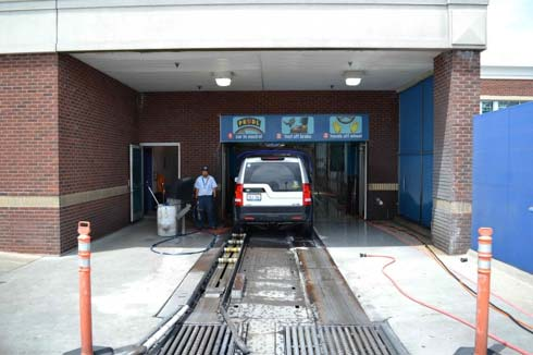 A car enters the car wash (in case you have never been to a car wash)