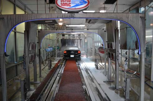 Inside the car wash. Notice that they installed blue rope light on the various stations. This was their initial thought of making the car wash 'fun'. That was before we got involved.